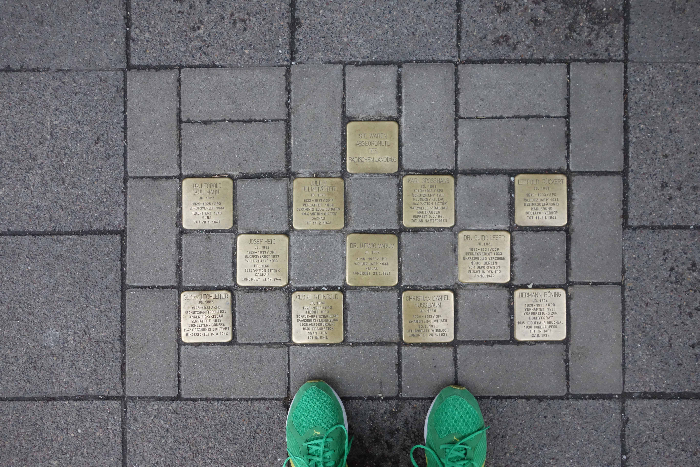 12 Stolpersteine, with my shoes for size and layout reference.