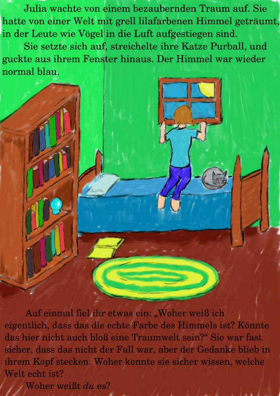 `A possible illustration of the first page of How Do You Know? with German text.